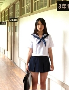 Tomoe Yamanaka babe in uniform is happy in her way to school classes