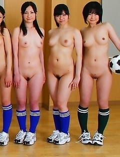 Soccer girls posing totally naked